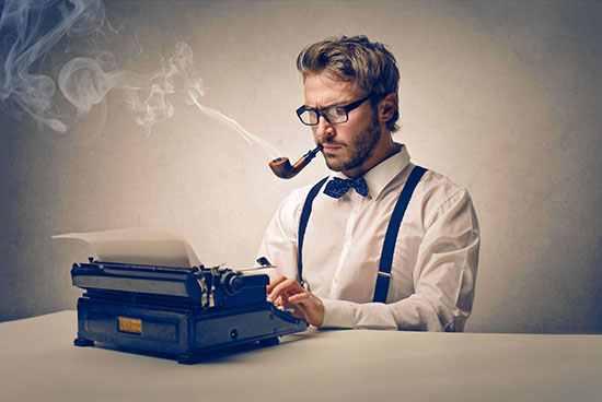 Заказать текст. мужик с печатной машинкой